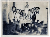 "On verso, ""Group of students at the first cooperative club at dinner. American University of Beirut, Beirut, Syria."""